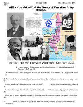 Global History 10th Grade - Unit 29 Between the World Wars - Day 4 Handout