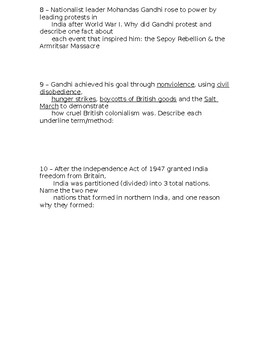 Global History - 10th Grade - Unit 29 - Part 2 of Quiz (Short Answers)