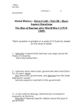 Global History - 10th Grade - Unit 30 - Part 2 of Quiz (Short Answers)