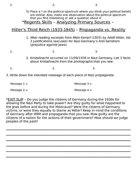 Global History 10th Grade - Unit 30 Rise of Fascism Post-WWI - Day 3 Handout