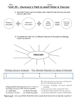Global History - 10th Grade - Unit 30 - The Rise of Fascism - Handout 1