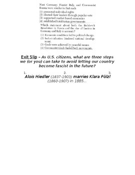 Global History - 10th Grade - Unit 30 - The Rise of Fascism - Handout 2