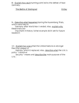 Global History - 10th Grade - Unit 31 - Part 2 of Quiz (Short Answers)