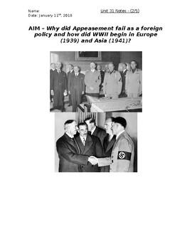 Global History - 10th Grade - Unit 31 - World War 2 - Handout 2