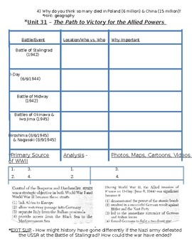 Global History - 10th Grade - Unit 31 - World War 2 - Handout 3