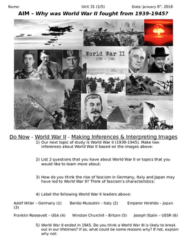Global History 10th Grade - Unit 31 World War II in Europe/Asia - Day 1 Handout