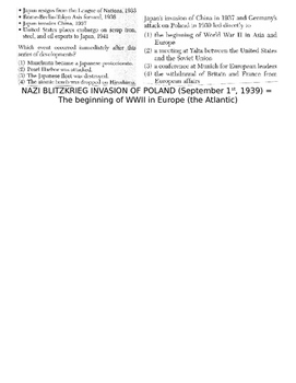 Global History 10th Grade - Unit 31 World War II in Europe/Asia - Day 2 Handout