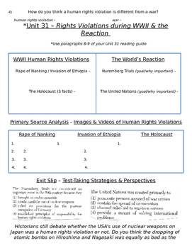 Global History 10th Grade - Unit 31 World War II in Europe/Asia - Day 4 Handout