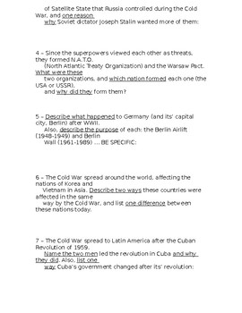 Global History - 10th Grade - Unit 32 - Extra Credit Short Answer Questions