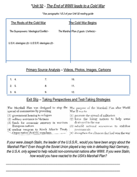 Global History 10th Grade - Unit 32 The Cold War - Day 1 Handout