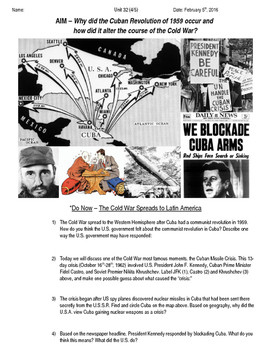 Global History 10th Grade - Unit 32 The Cold War - Day 4 Handout