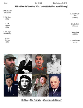 Global History 10th Grade - Unit 32 The Cold War - Day 5 Handout
