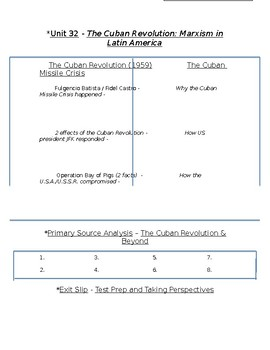 Global History - 10th Grade - Unit 32 - The Cold War - Handout 4