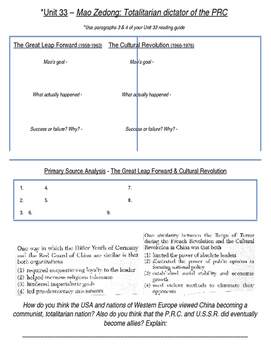 Global History 10th Grade - Unit 33 Chinese Revolution - Day 2 Handout