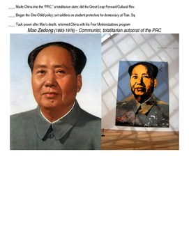 Global History 10th Grade - Unit 33 Chinese Revolution - Day 3 Handout