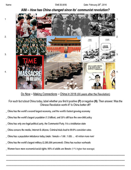 Global History 10th Grade - Unit 33 Chinese Revolution - Day 4 Handout