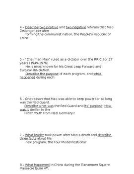 Global History - 10th Grade - Unit 33 - Part 2 of Quiz (Short Answers)