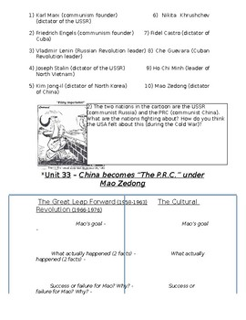 Global History - 10th Grade - Unit 33 - The Chinese Revolution - Handout 2