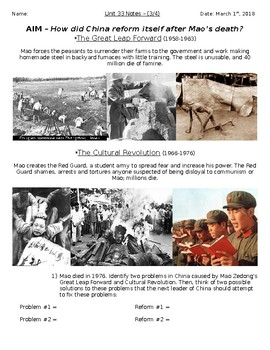 Global History - 10th Grade - Unit 33 - The Chinese Revolution - Handout 3