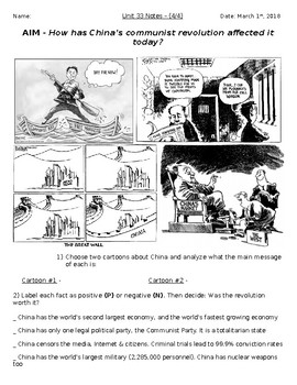 Global History - 10th Grade - Unit 33 - The Chinese Revolution - Handout 4