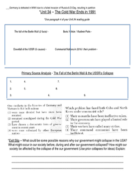 Global History 10th Grade - Unit 34 End of the Cold War - Day 3 Handout