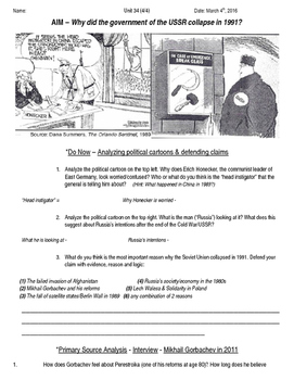 Global History 10th Grade - Unit 34 End of the Cold War - Day 4 Handout