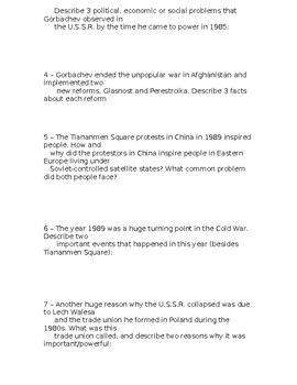 Global History - 10th Grade - Unit 34 - Extra Credit Short Answer Questions