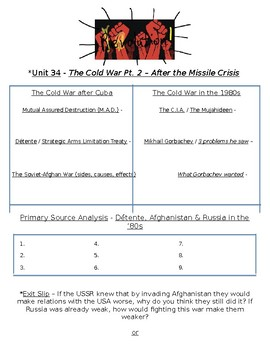 Global History - 10th Grade - Unit 34 - The Collapse of the USSR - Handout 1