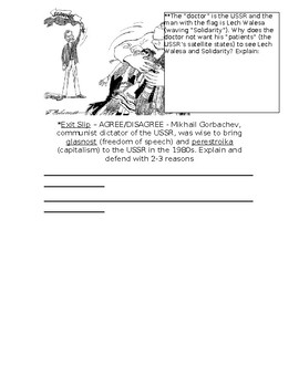 Global History - 10th Grade - Unit 34 - The Collapse of the USSR - Handout 2