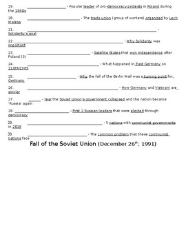 Global History - 10th Grade - Unit 34 - The Collapse of the USSR - Handout 4