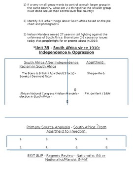 Global History - 10th Grade - Unit 35 - Colonialism to Independence - Handout 4