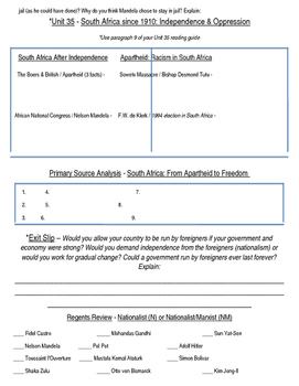 Global History 10th Grade - Unit 35 End of Imperialism - Day 4 Handout