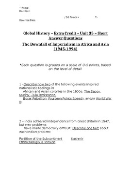 Global History - 10th Grade - Unit 35 - Extra Credit Short Answer Questions