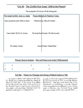 Global History 10th Grade - Unit 36 Conflicts in the Middle East - Day 2 Handout