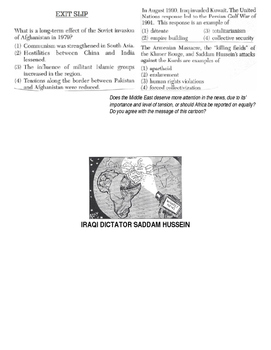 Global History 10th Grade - Unit 36 Conflicts in the Middle East - Day 4 Handout