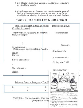 Global History - 10th Grade - Unit 36 - Conflicts in the Middle East - Handout 1