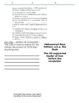 Global History - 10th Grade - Unit 36 - Conflicts in the Middle East - Handout 3