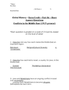 Global History - 10th Grade - Unit 36 - Extra Credit Short Answer Questions