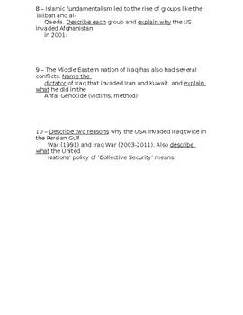 Global - Ten Short Answer Questions - Unit 16/20 - 10th Grade
