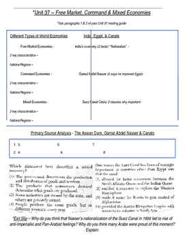 Global History 10th Grade - Unit 37 Growth of Global Economies - Day 1 Handout