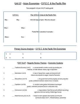 Global History 10th Grade - Unit 37 Growth of Global Economies - Day 3 Handout
