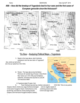 Global History 10th Grade - Unit 39 Spread of Global Conflicts - Day 4 Handout