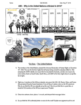 Global History 10th Grade - Unit 39 Spread of Global Conflicts - Day 5 Handout