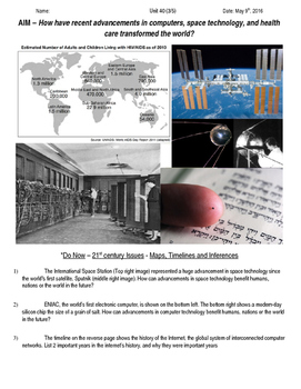 Global History 10th Grade - Unit 40 21st Century Issues - Day 3 Handout