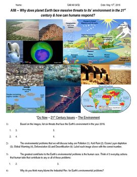Global History 10th Grade - Unit 40 21st Century Issues - Day 4 Handout