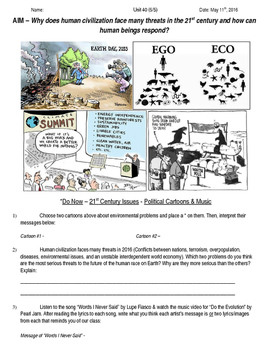 Global History 10th Grade - Unit 40 21st Century Issues - Day 5 Handout