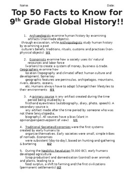 Global History 9th Grade - 50 Most Important Facts - REGENTS ALIGNED