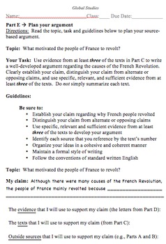 Global History Evaluation Activity - Causes of the French Revolution
