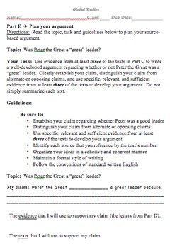 "Global History Evaluation Activity - Peter the ""Great""?"