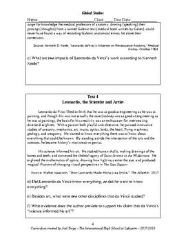 Global History Evaluation Activity - Was Leonardo da Vinci the Greatest Thinker?